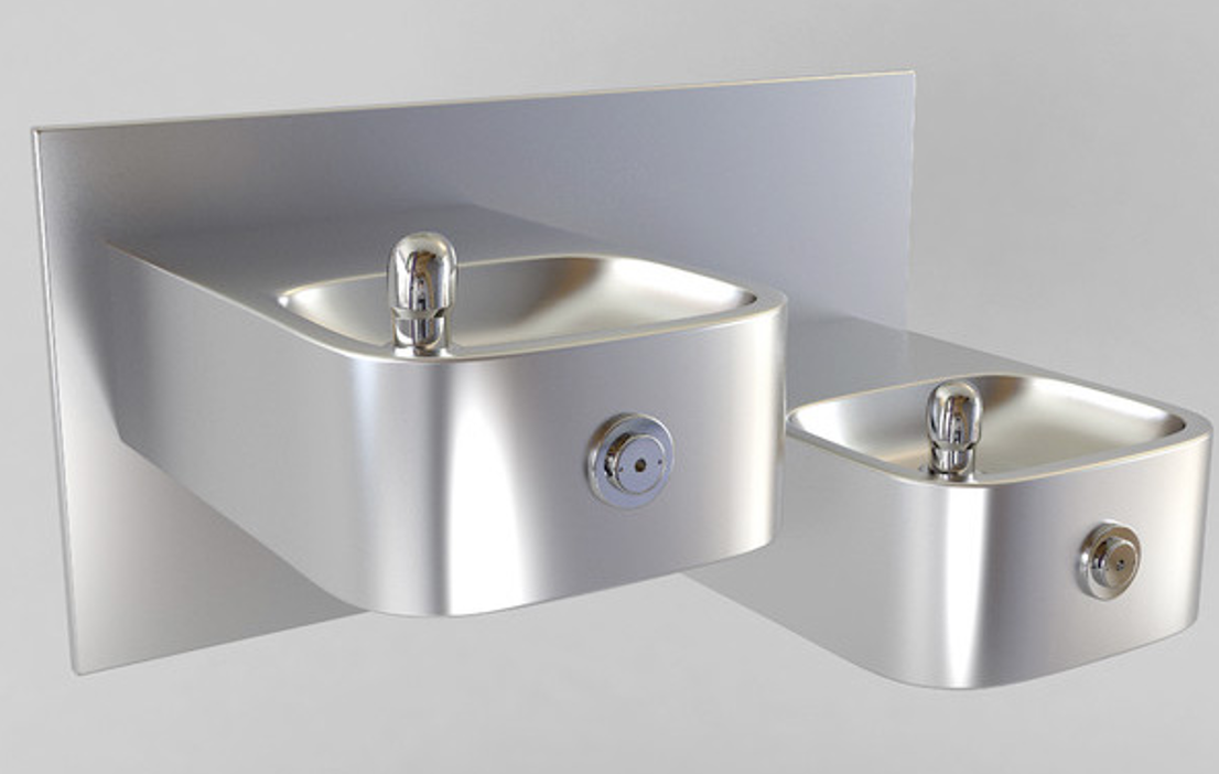 Two wall mounted water fountains of varying heights that have space underneath