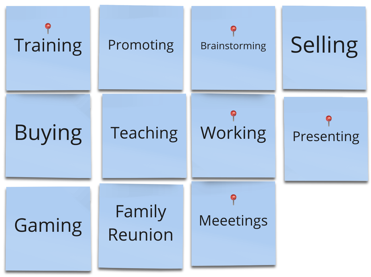 Post-its with possible scenarios for Marina—e.g.: Training, brainstorming, working, meeting, presenting and meetings.