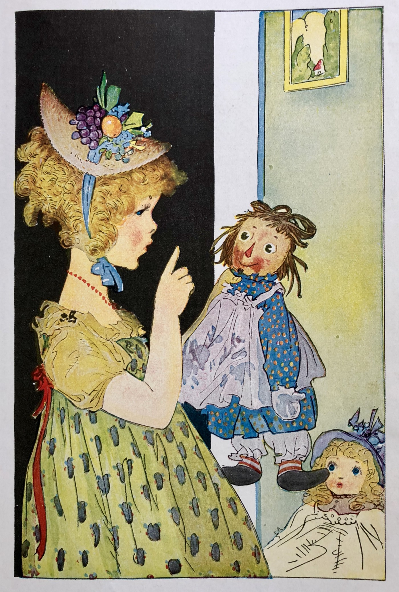 A little girl chastises her dirty-faced Raggedy Ann doll.