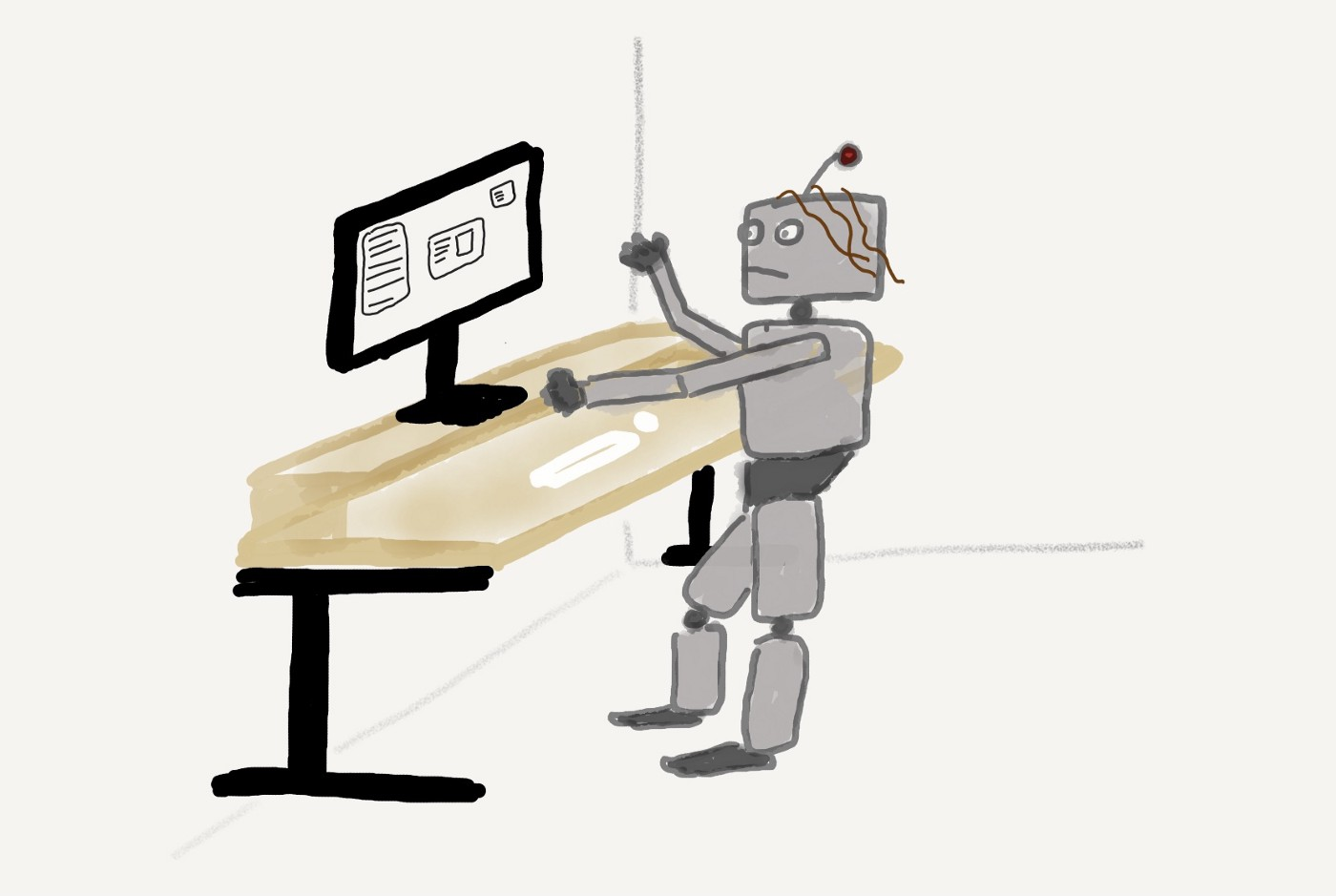 A blocky grey robot stands in front of a desk an inelegantly operates a mouse and keyboard.