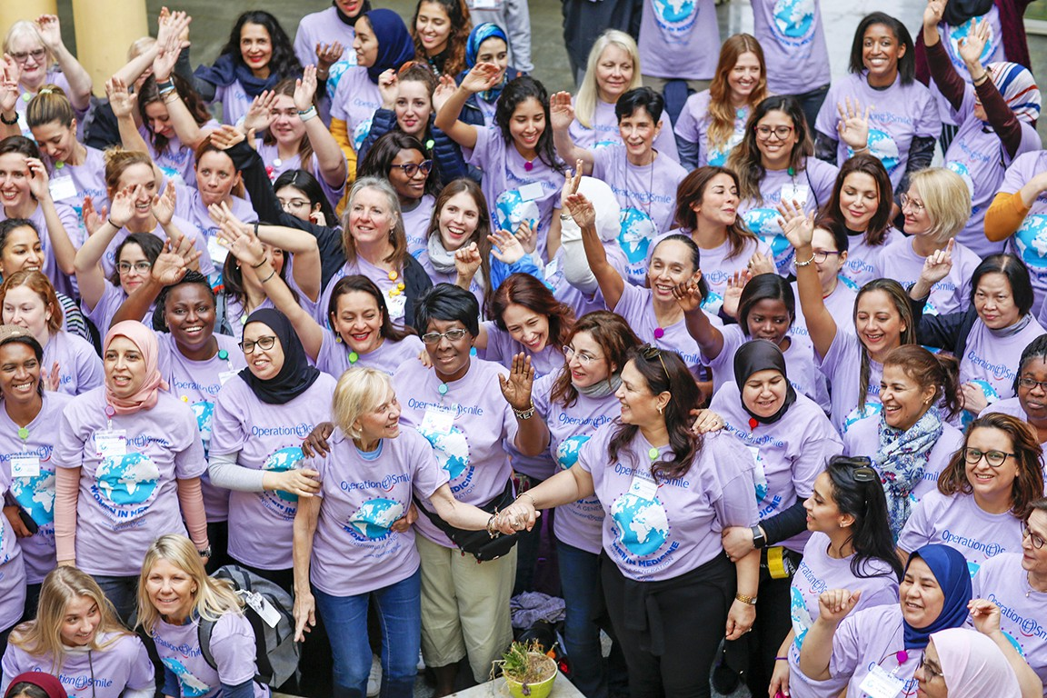 A team photo of the all-female medical and non medical volunteers at the program in Morocco.