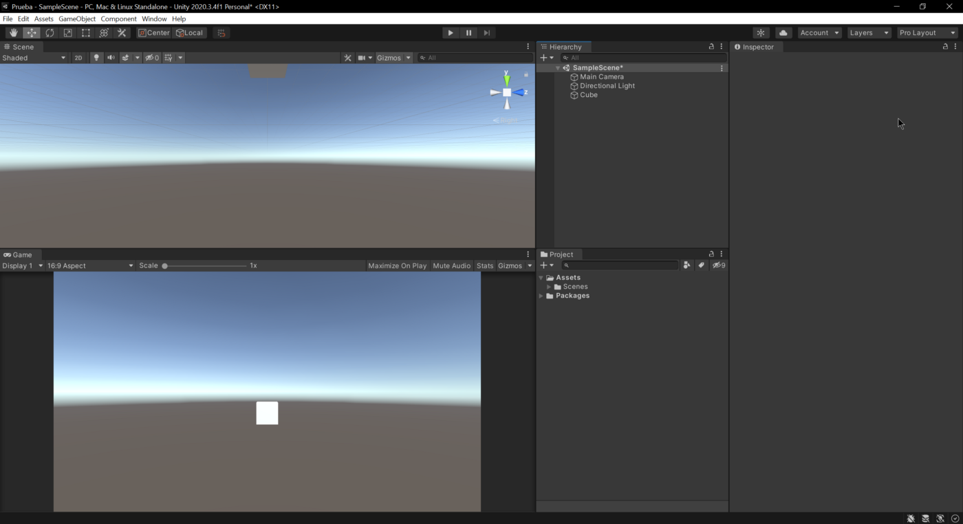 This is the look of my layout to work with Unity