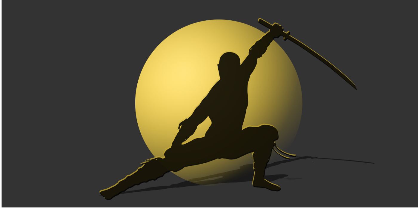 Illustrated image of a ninja silhouetted against the moon