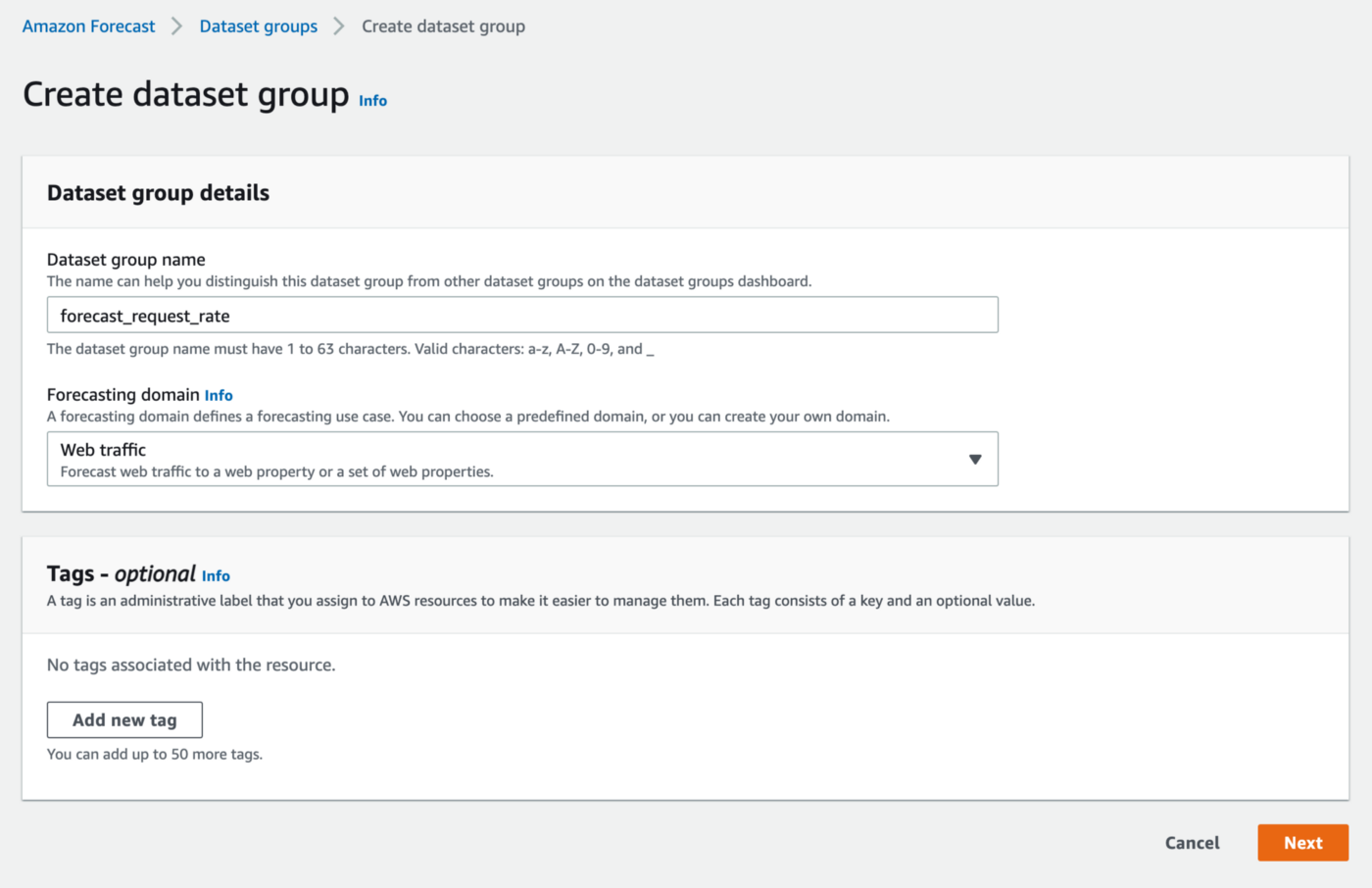 Create a dataset group with a domain in AWS