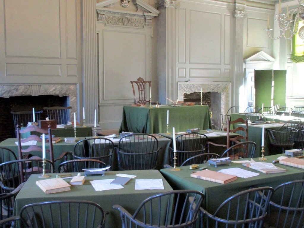 The Assembly Room of Independence Hall, an 18th Century British built building, where Americans debated independence.