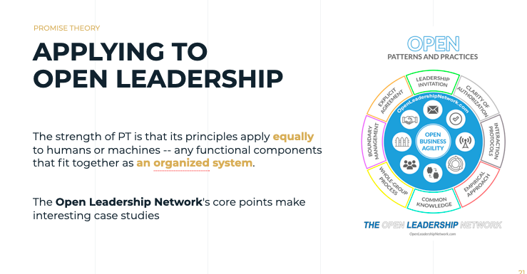 At the Open Leadership Network, Promise Theory is a foundation for a deeper understanding of Agile methodology