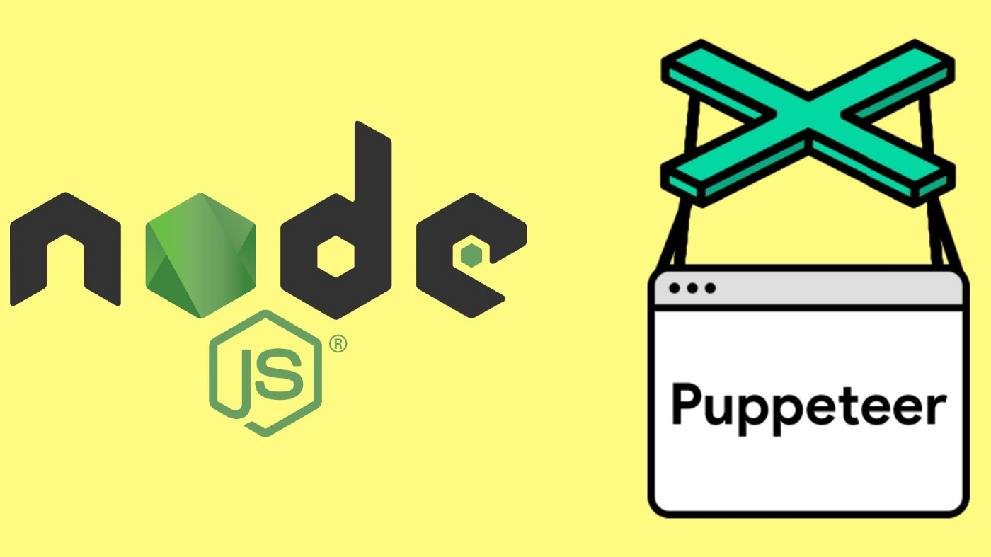 Node and Puppeteer logos