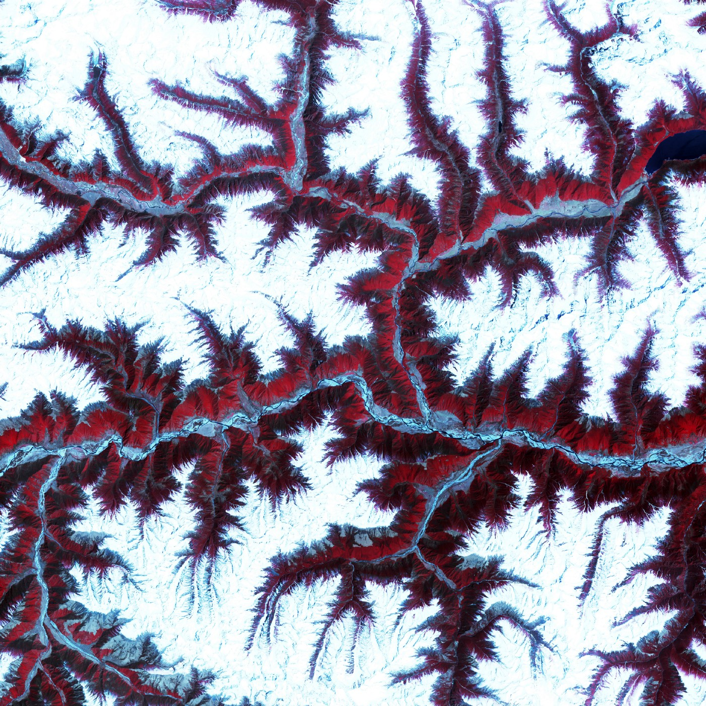 The eastern Himalaya Mountains create an irregular white-on-red patchwork between major rivers in southwestern China.