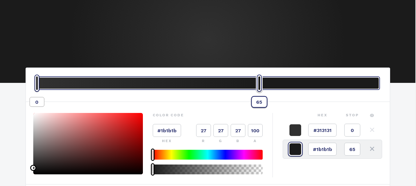 shows the main part for working with the gradient in cssgradient.io