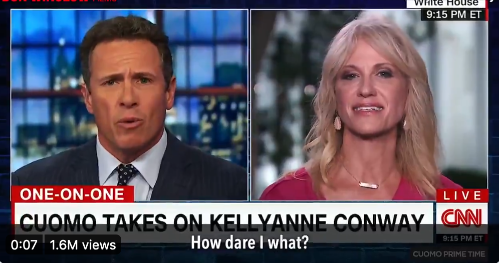 Split-screenshot of Chris Cuomo's interview with KelleyAnne Conway on CNN, with Cuomo on the left and Conway on the right.