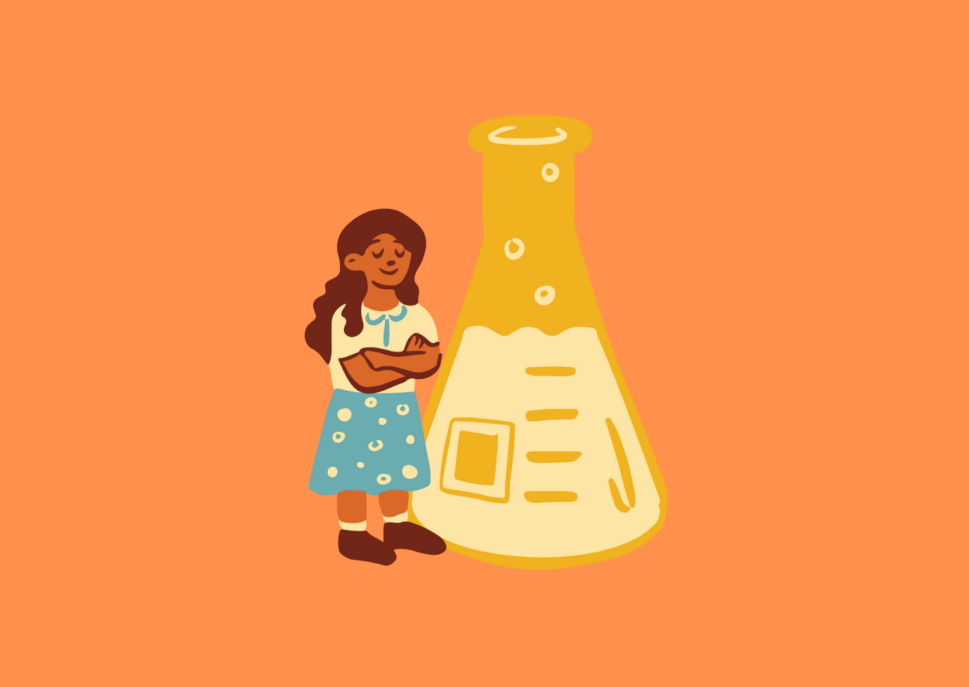 A person of color is standing beside a large erlenmeyer flask. They are content and happy.