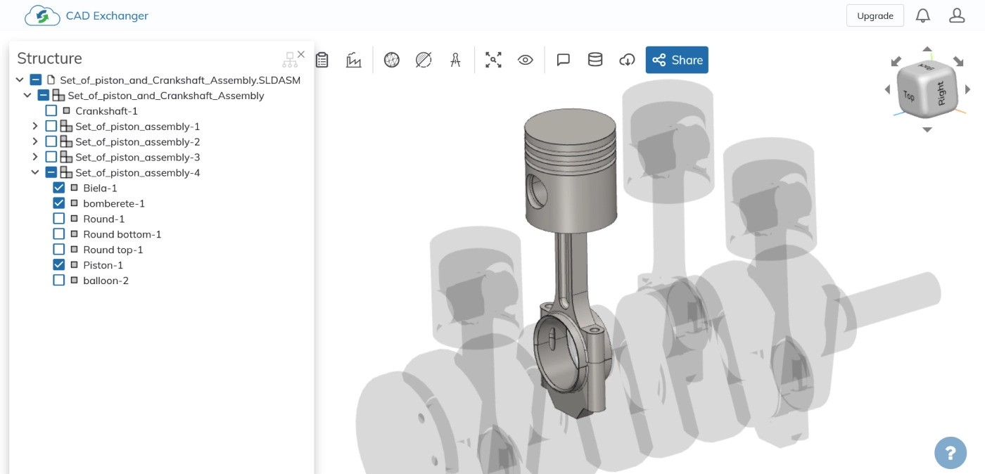 """Fig. 4. """"Piston-connecting rod"""" sub-assembly with some hidden parts"""