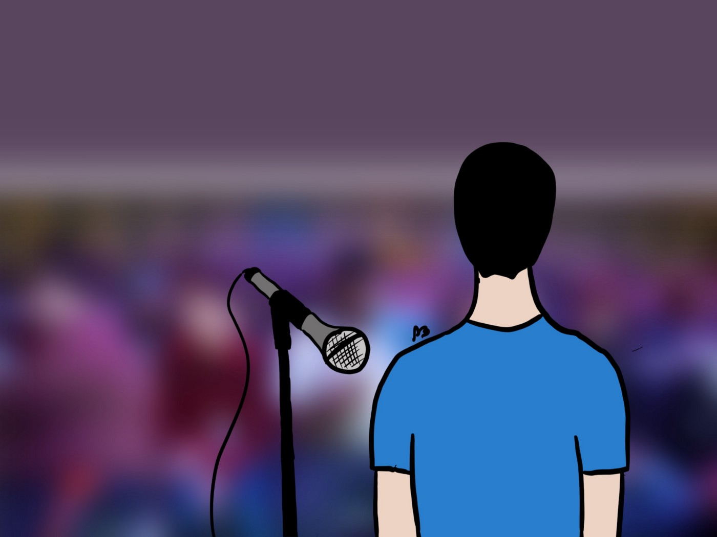Illustration of someone speaking in front of an audience