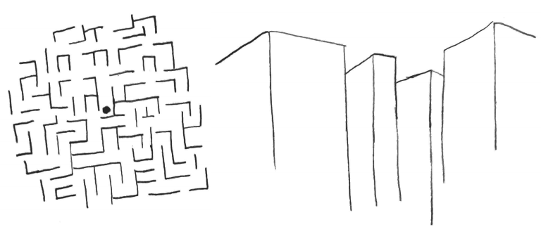 Two hand-drawn visuals. A maze with a dot in the center, and the view of the dot looking at the walls and paths of the maze.