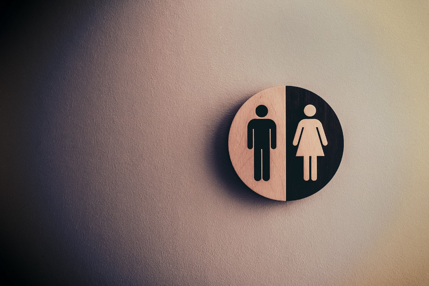 Image of man and woman symbol, the man is black on light background, the woman is light on black background