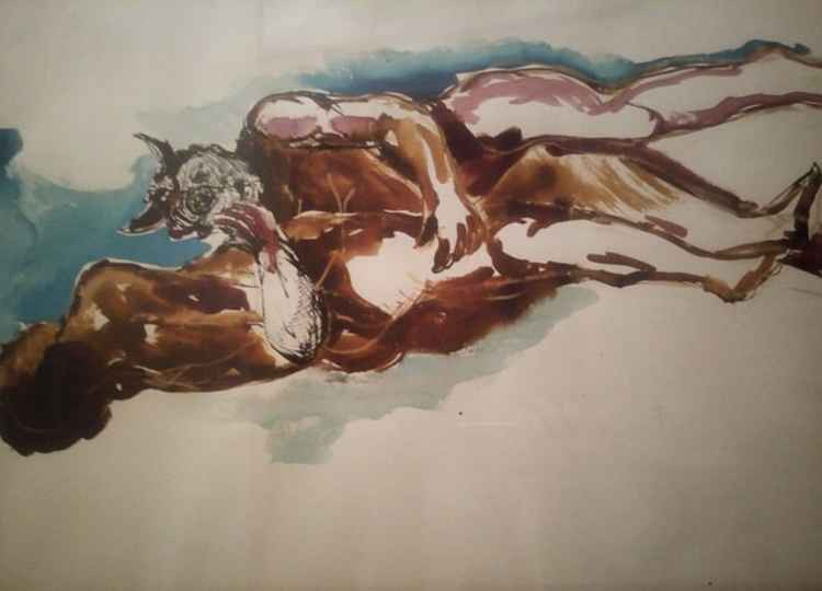 "Master Franco Nocera, watercolor, 1968 ""The blind self-love"""