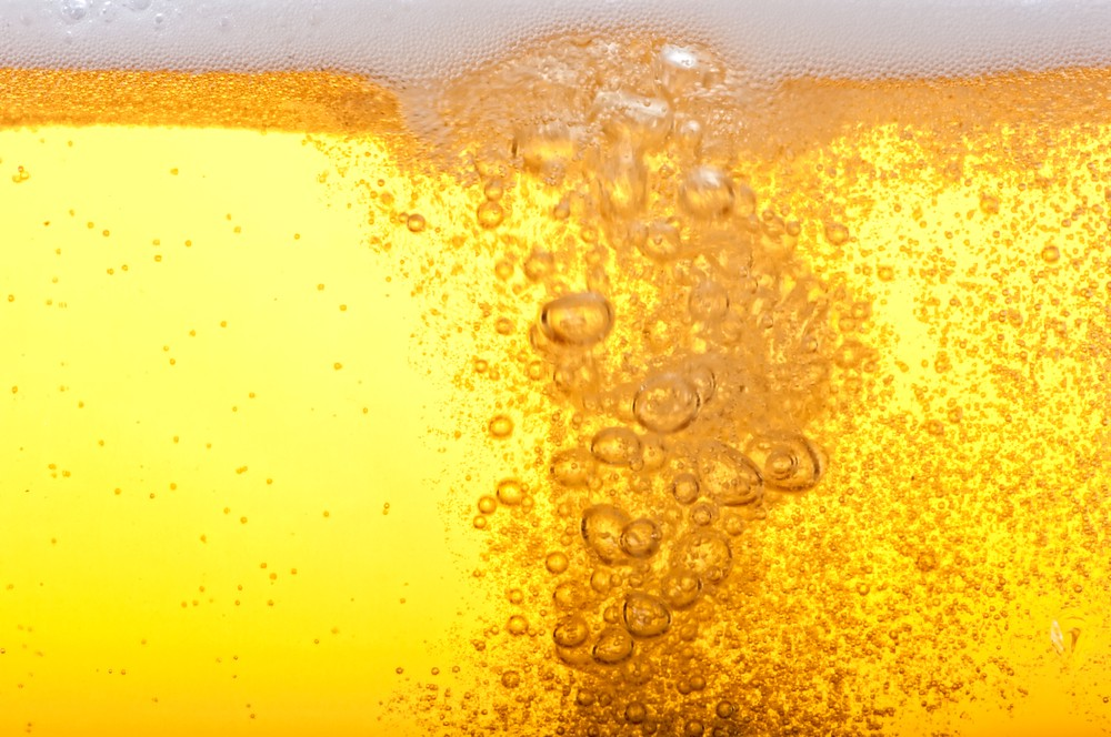 Beer bubbles bubbling up