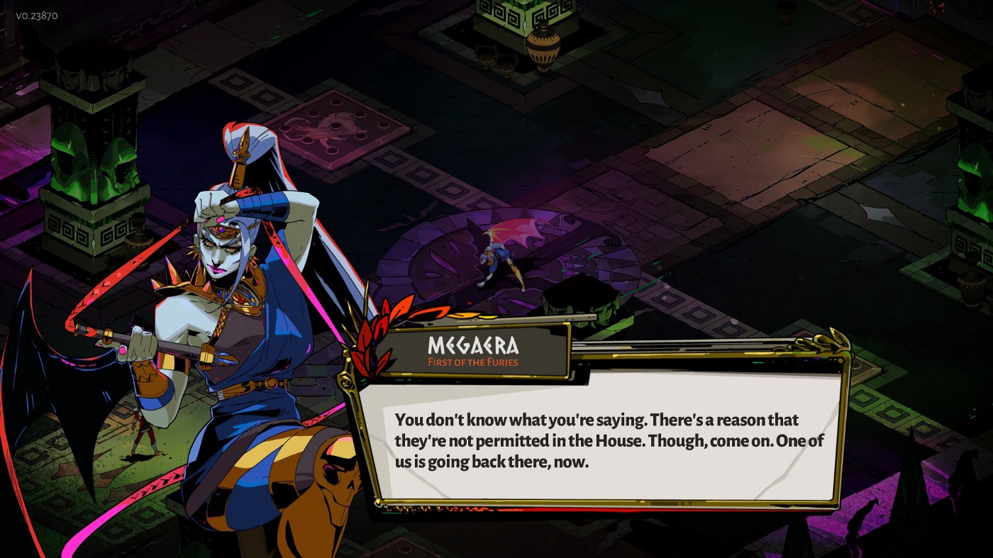 The harpy Megaera bantering with Zagreus before a fight between them