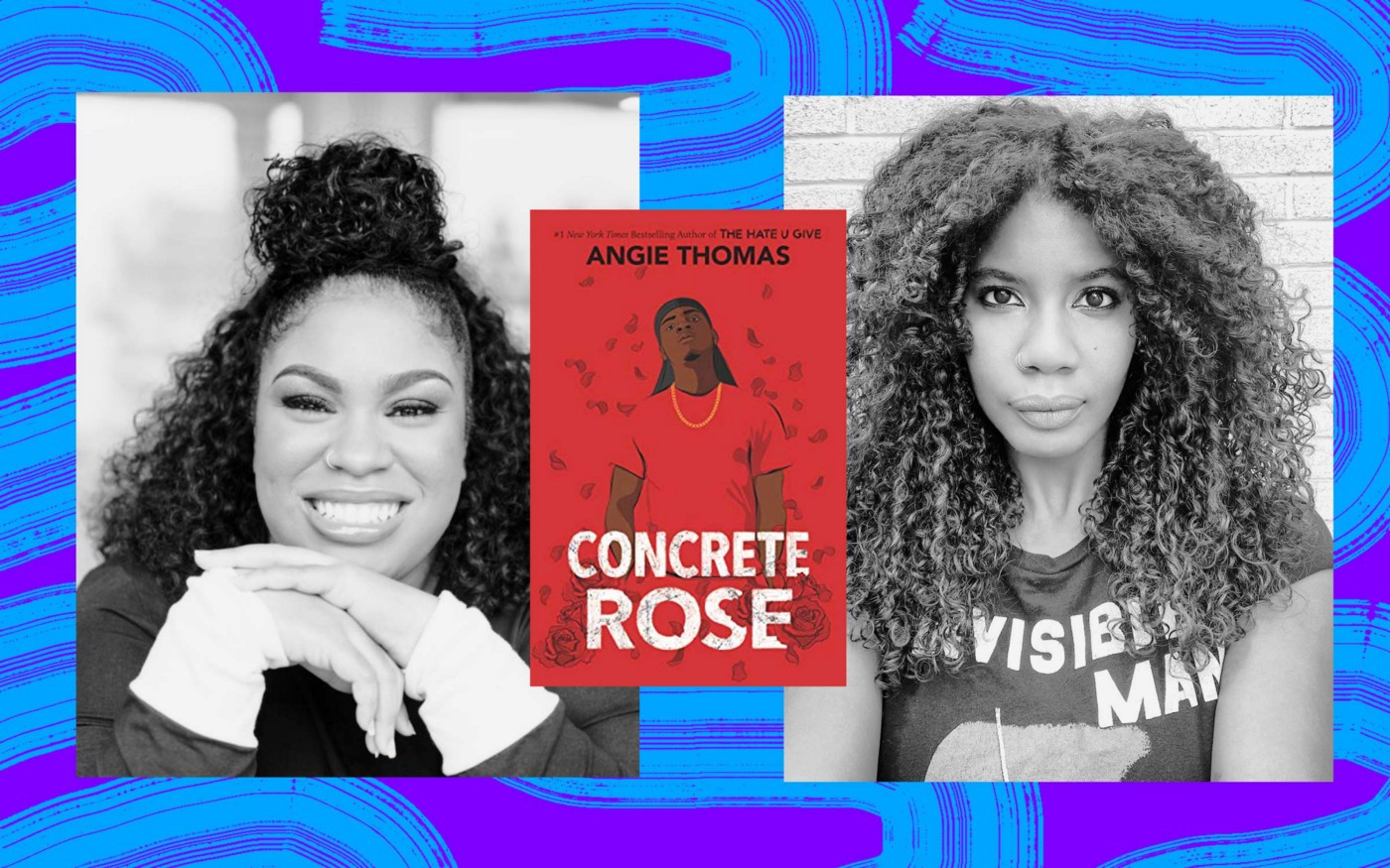 "Angie Thomas and Nic Stone with the cover of ""Concrete Rose."""