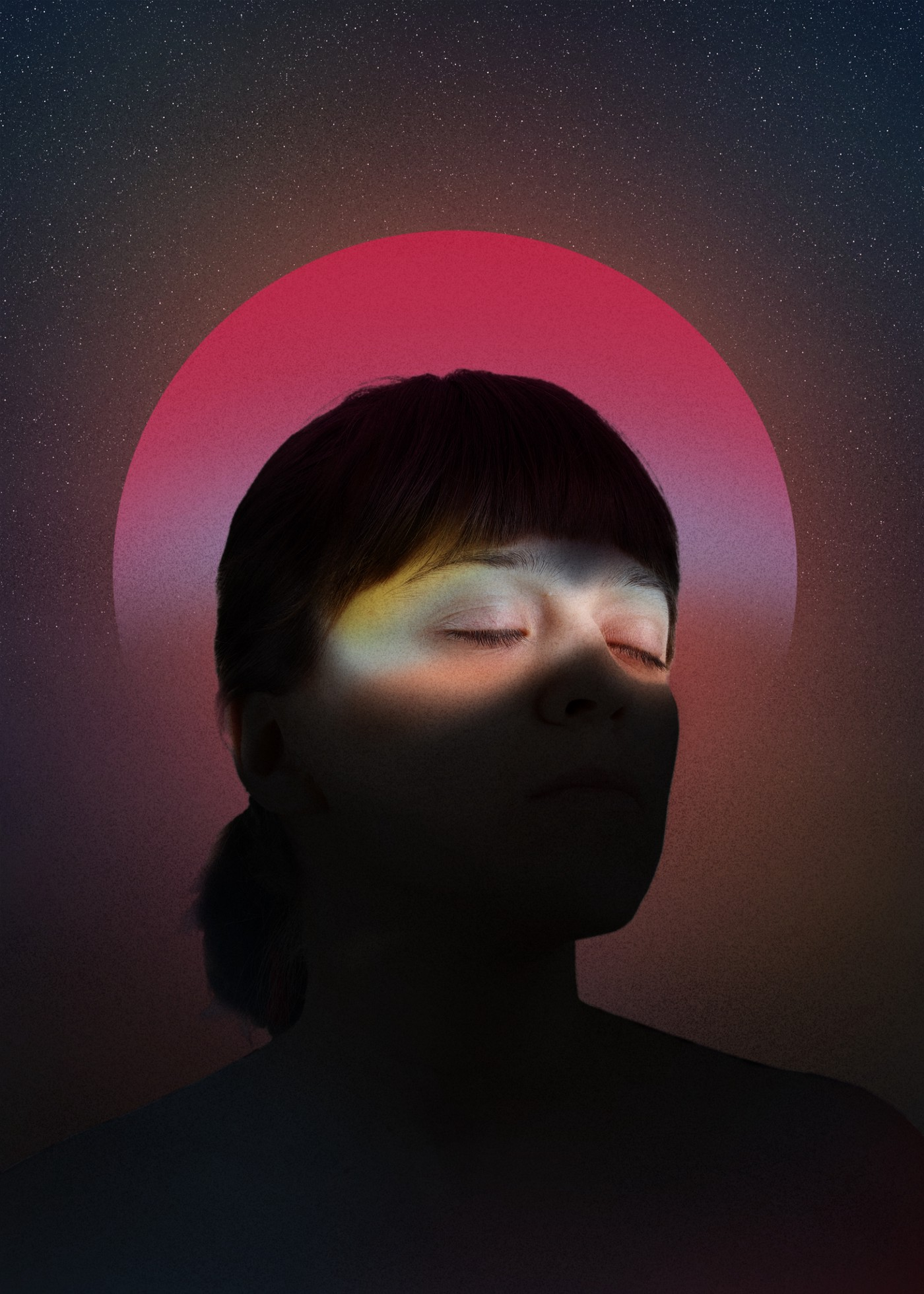 A woman with her eyes closed, only her eyes are lit on her face. There is a pink circle graphic behind her head.
