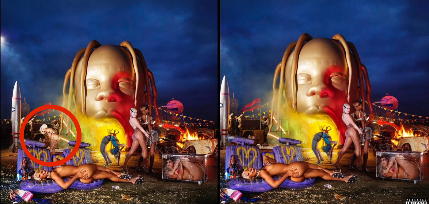 """eb0a67bc934c LaChapelle's original Image and the altered version of Travis Scott's Album  cover for """"Astroworld"""""""