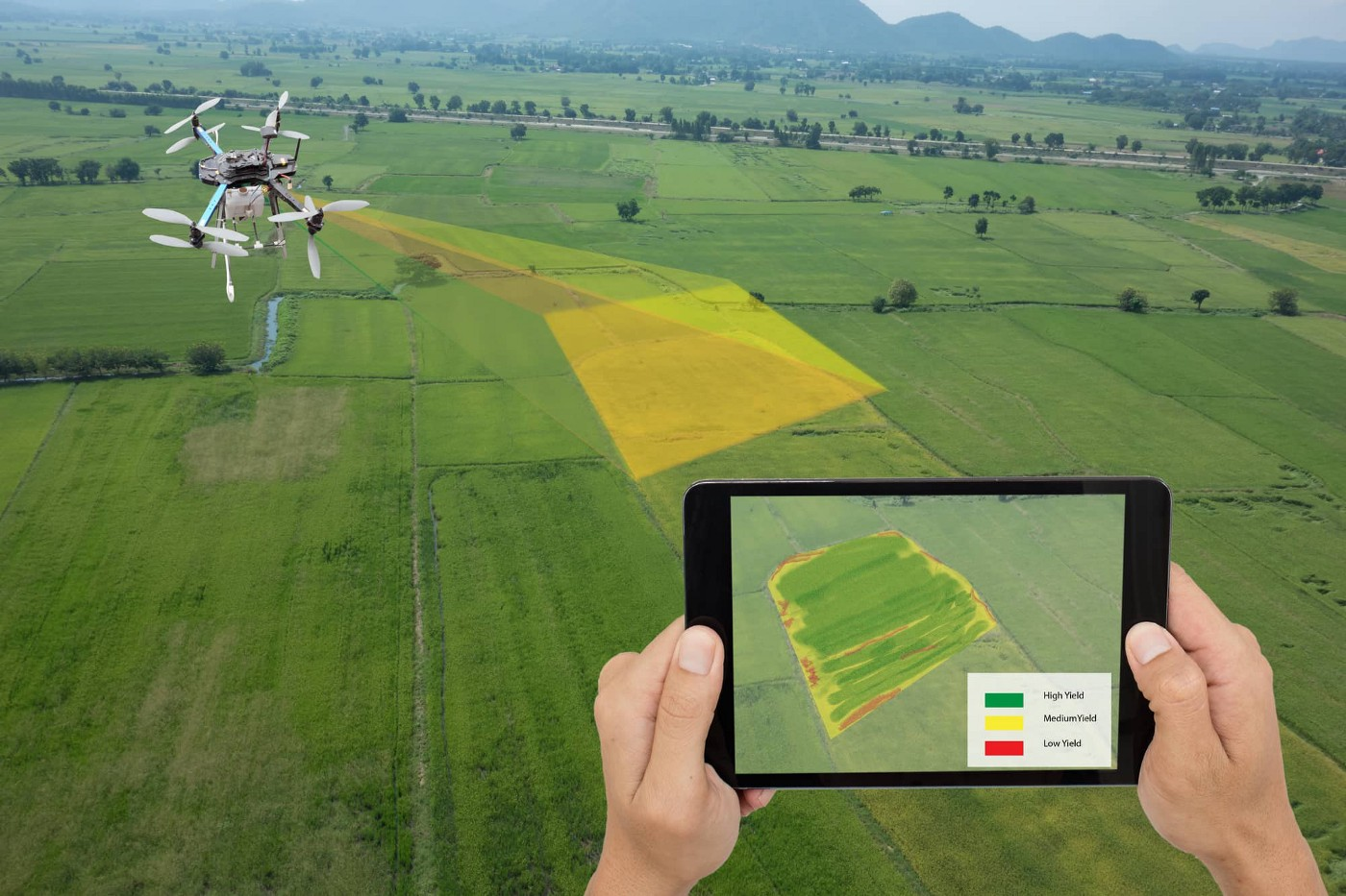 A drone uses technology to scan farmland.