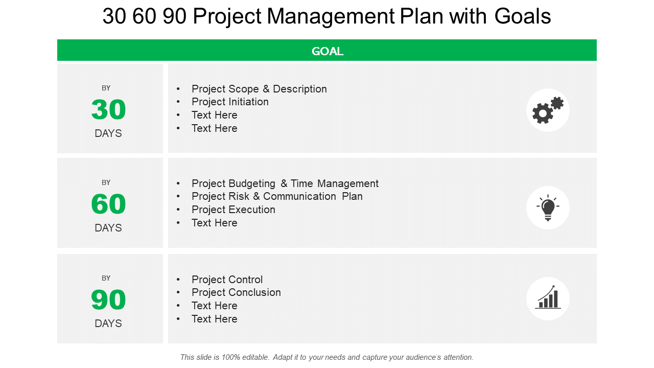 30 60 90 Day Project Management with Goals PPT Template