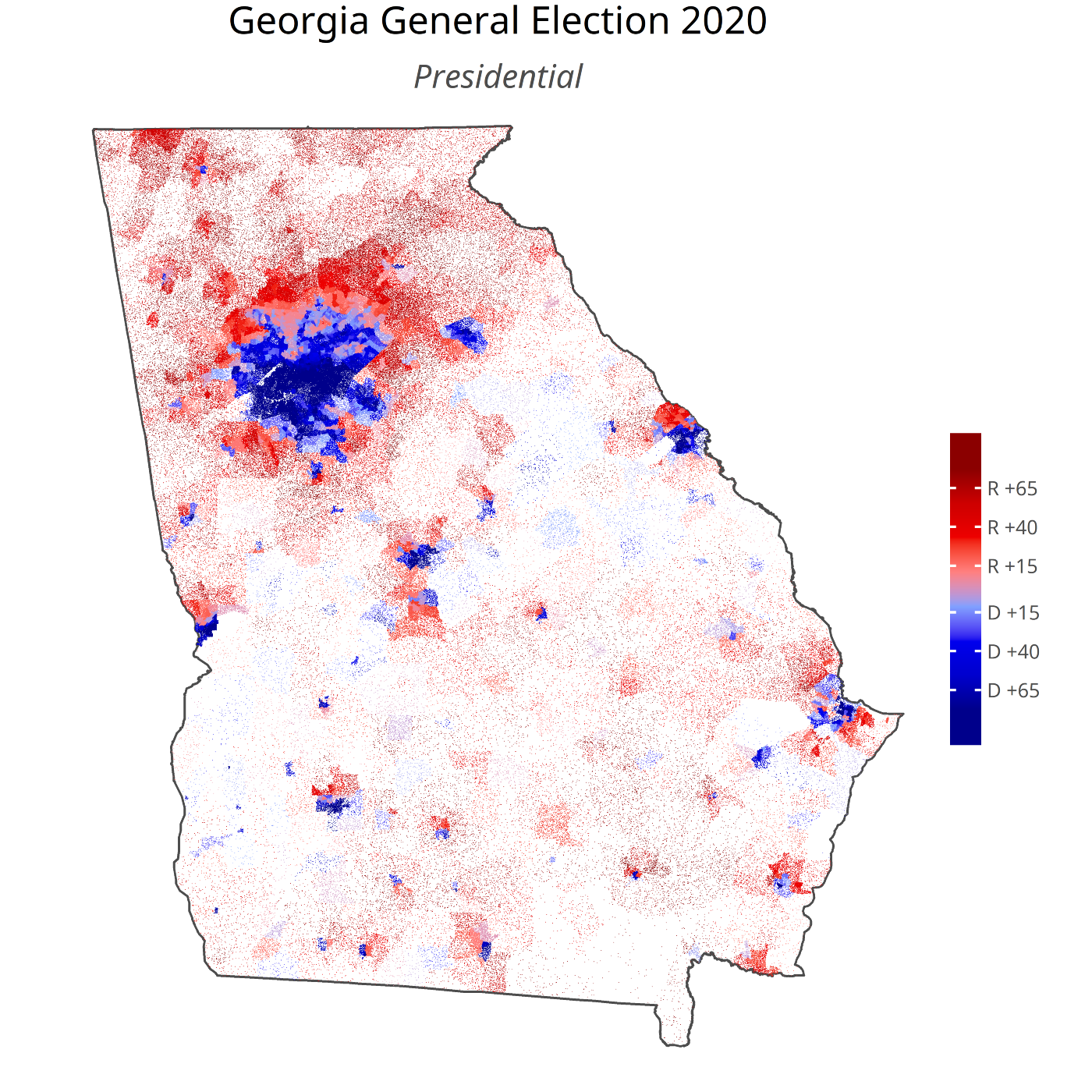 Dot density map of the November 3, 2020 Presidential Election in Georgia