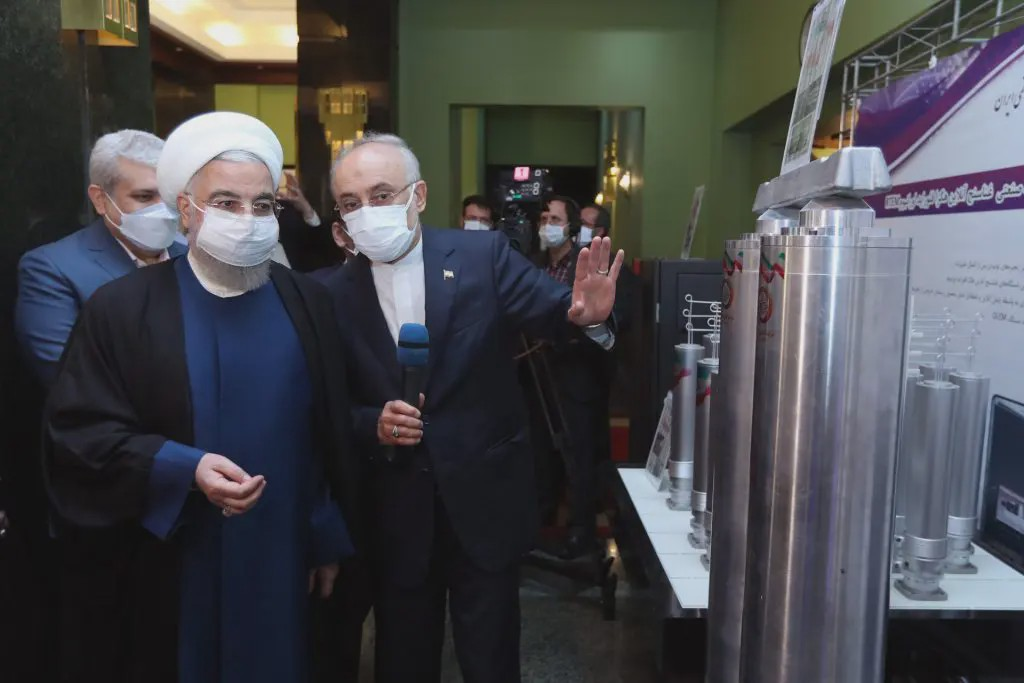 Iranian President Rouhani in April visiting the exhibition of nuclear achievements