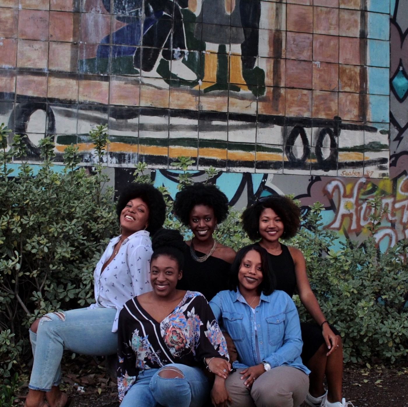 A group of African American women taking a picture