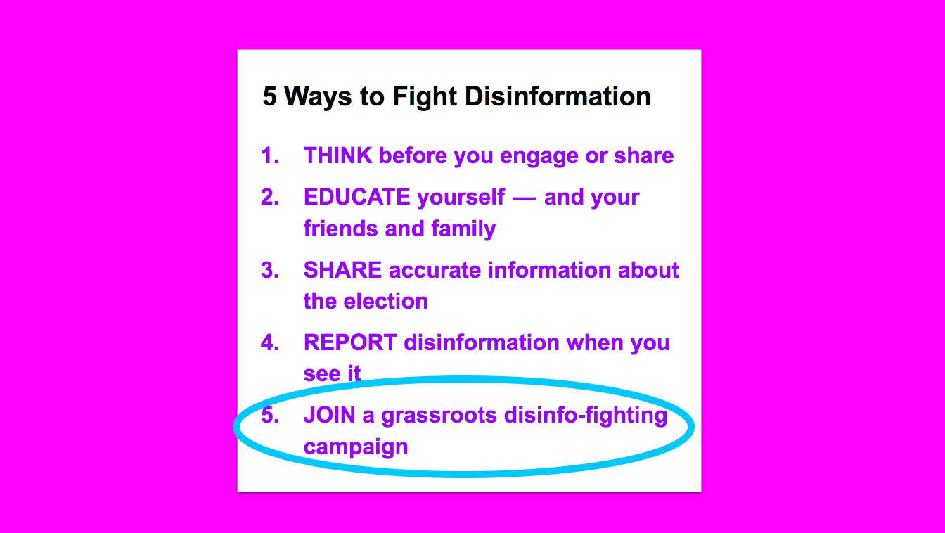 "5 Ways to Fight Disinformation, with a circle around ""Join a grassroots disinfo-fighting campaign"""
