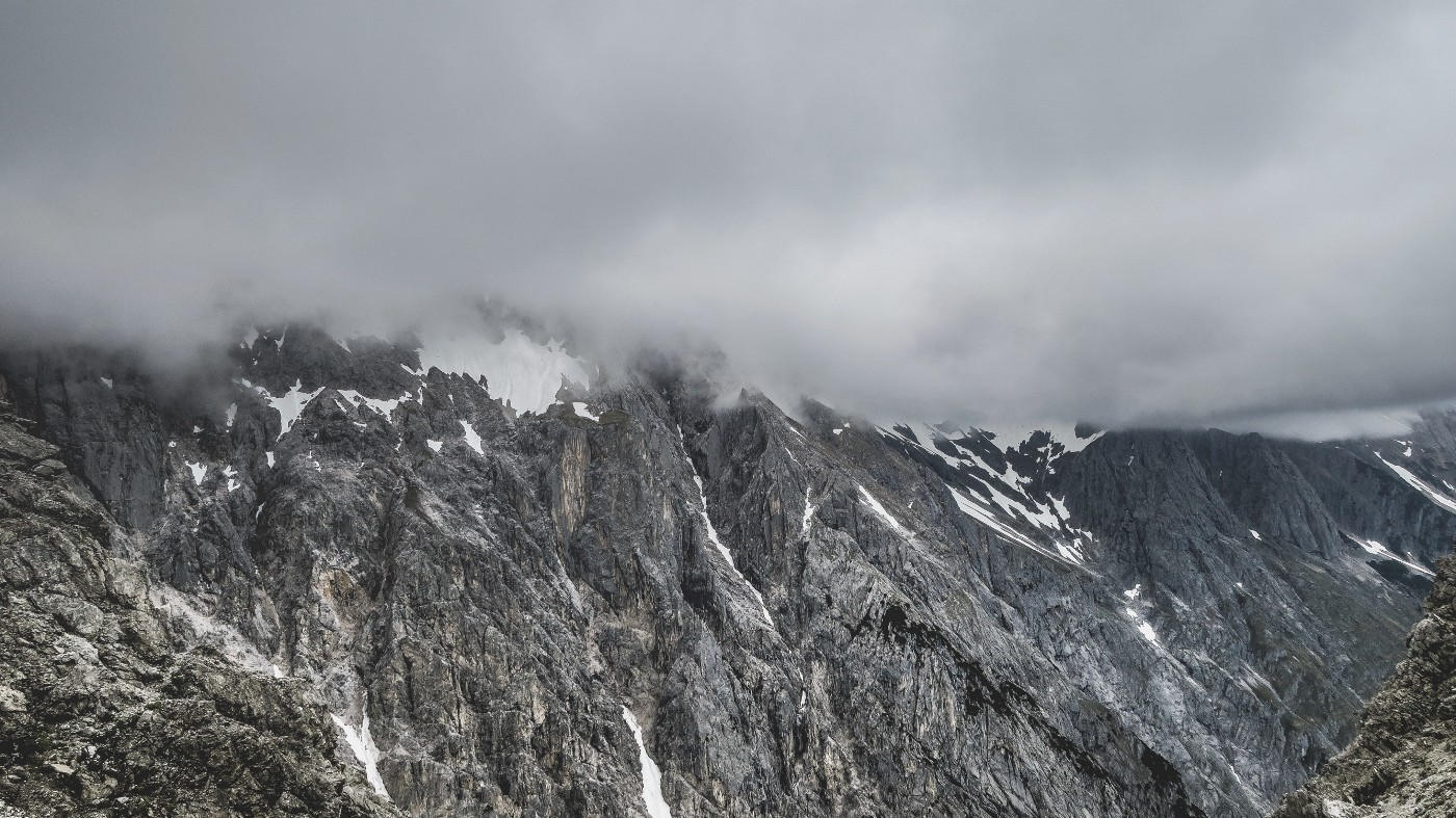 Fog covered mountain tops in Wankspitze