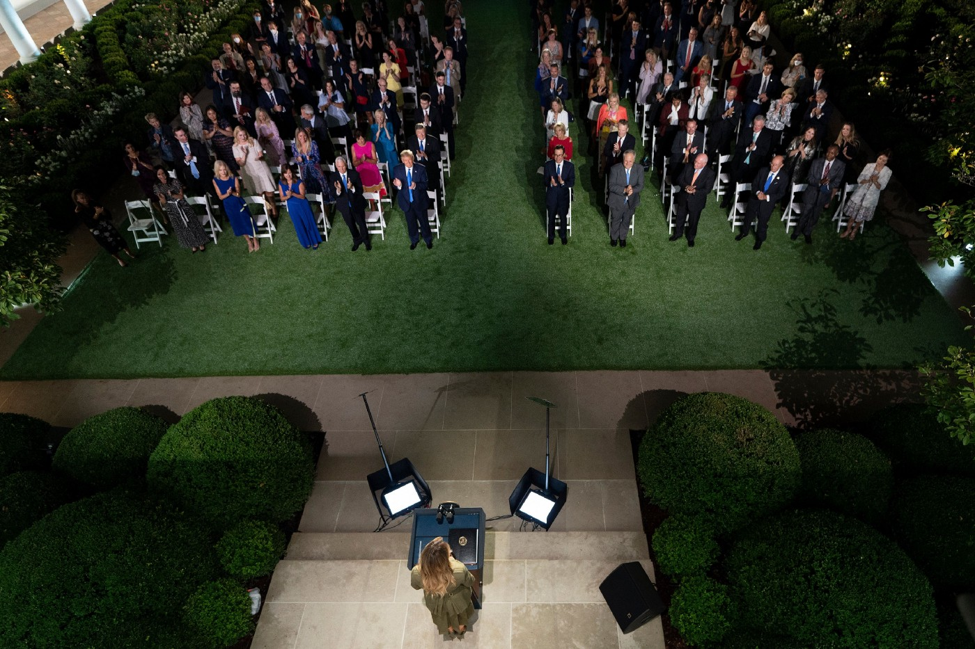 Melania Trump addresses the Republican Convention during its second day from the Rose Garden of the White House August 25, 20