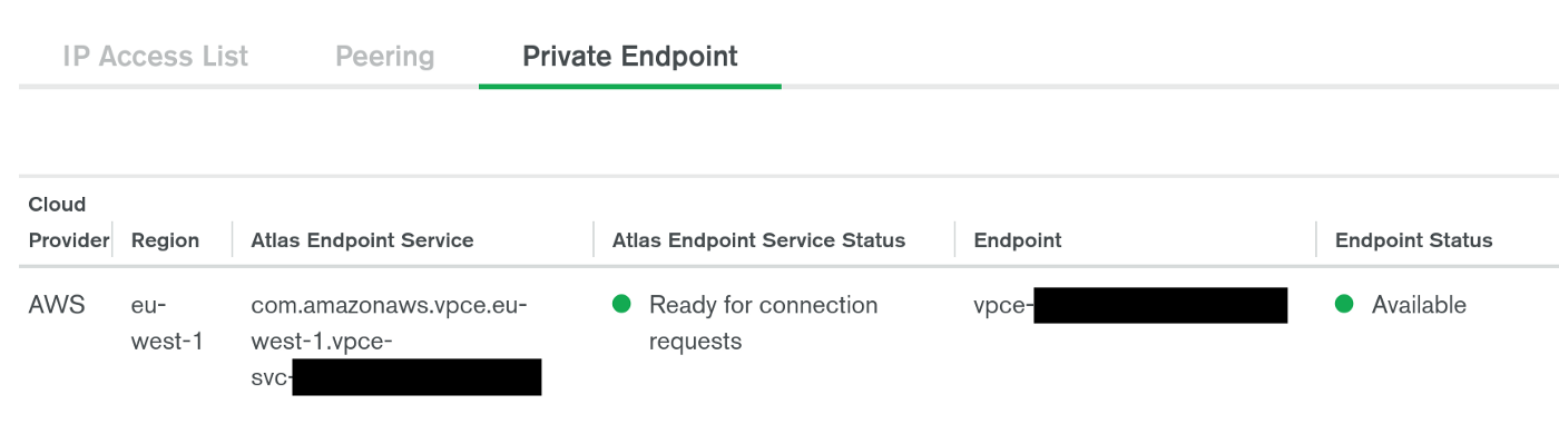 The status of our private endpoint and corresponding endpoint service, detailing that it is available and ready for connection requests from our own VPC.