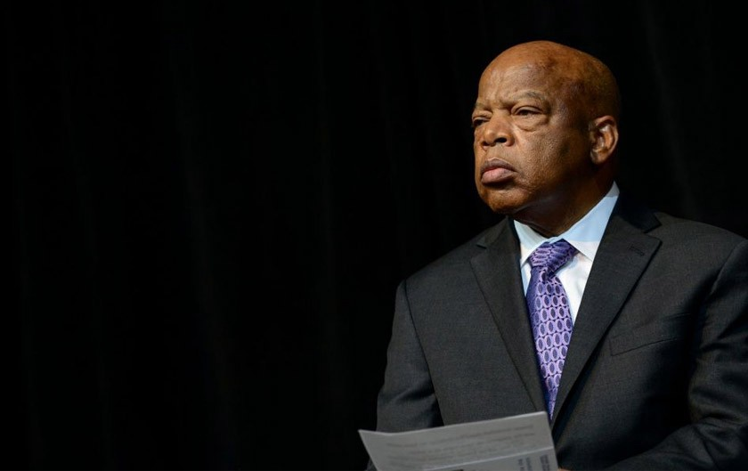A photograph of the late Congressman John Lewis.