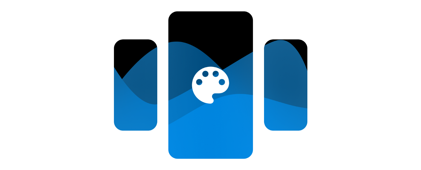 """A stylized """"recent apps"""" icon with a paint palette icon in the middle"""