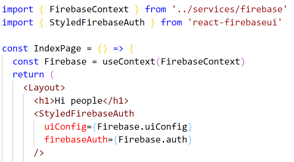 Setting up firebase UI button for Google authentication in Gatsby
