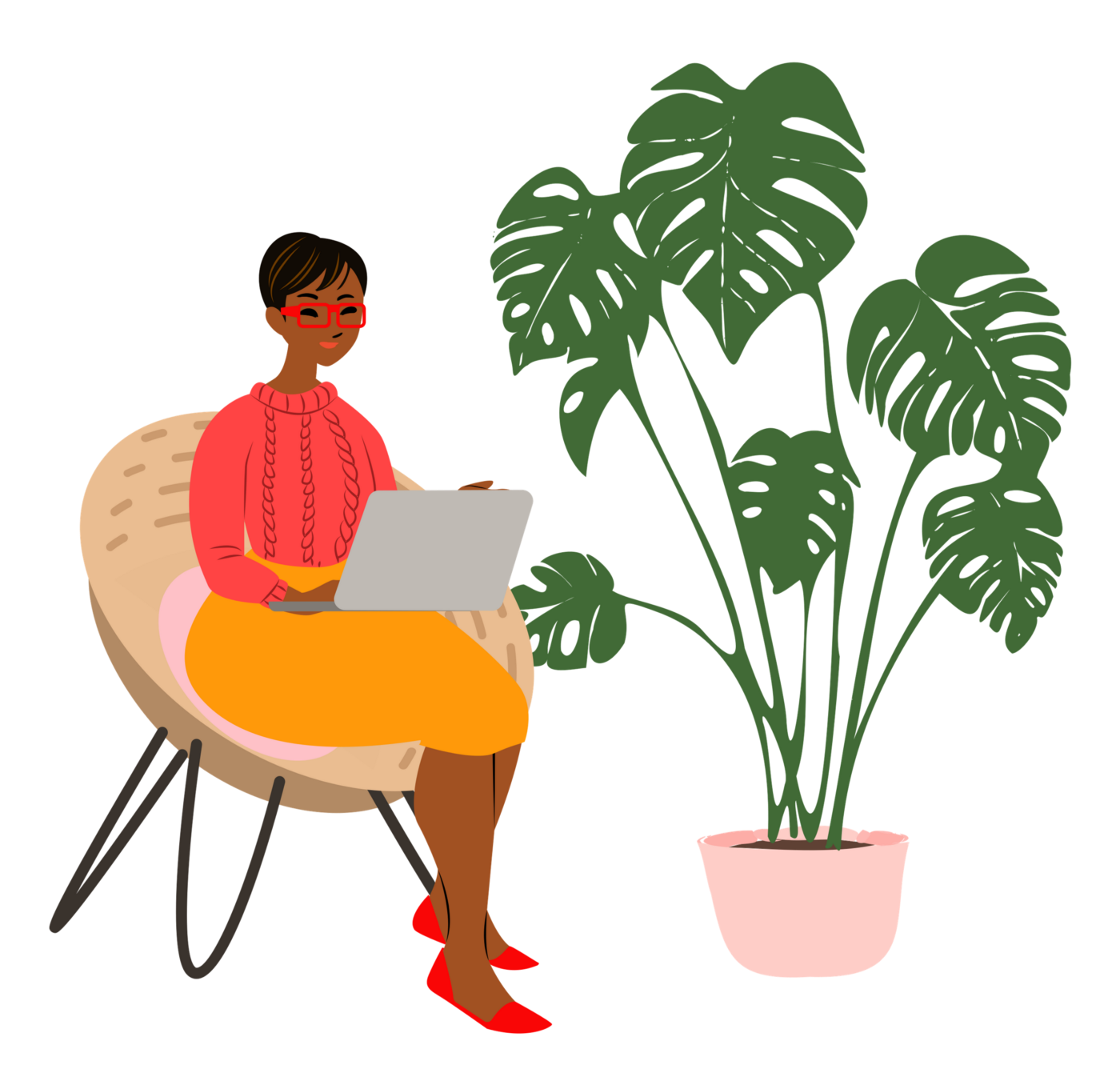 Illustration of woman sitting with her laptop.