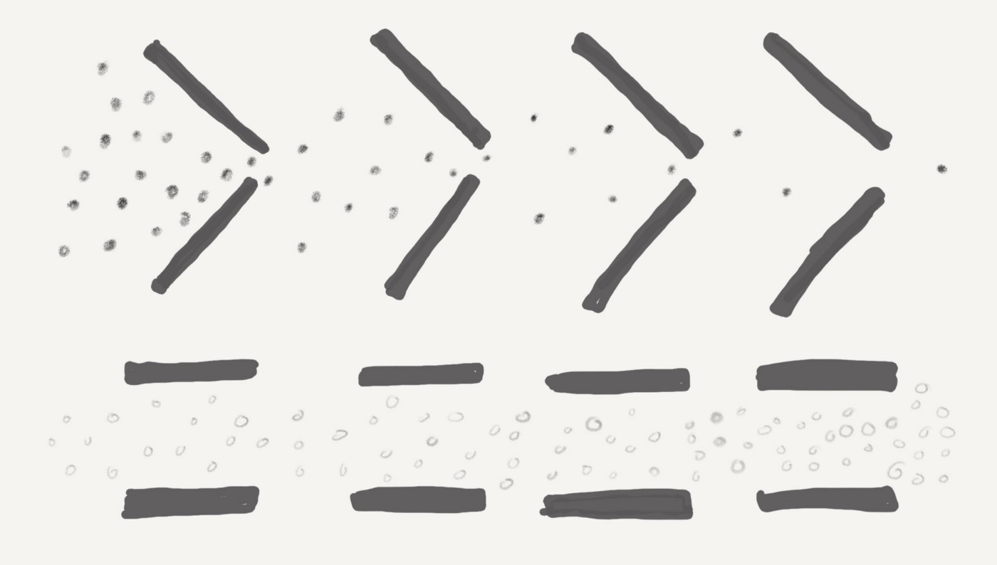A top row with a series of dots being filtered by narrow funnels, and a bottom row with a series of dots not being filtered.
