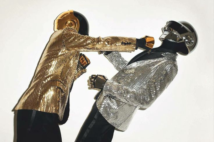 Pictured: Electronic duo Daft Punk punching each other's lights out.