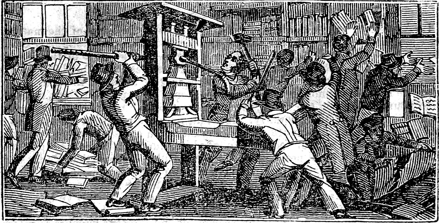 """An illustration from 1836 of cancel culture in 1835 where pro-slavery assholes demolished a printing press exercising the freedom to print abolitionist content. Apparently """"freedom"""" was utterly lost on these folks violently attacking three offices and shooting E. P. Lovejoy because he would not surrender his pulpit."""