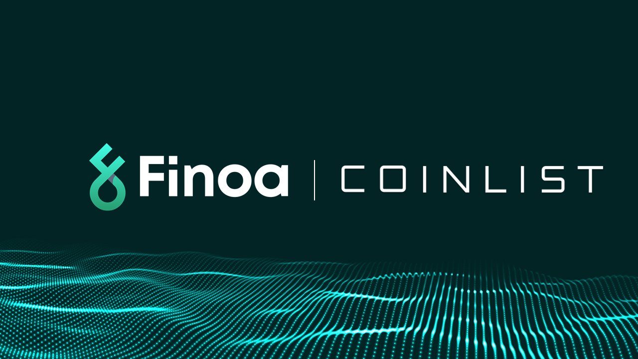 Finoa and Coinlist logos on Finoa's signature background.