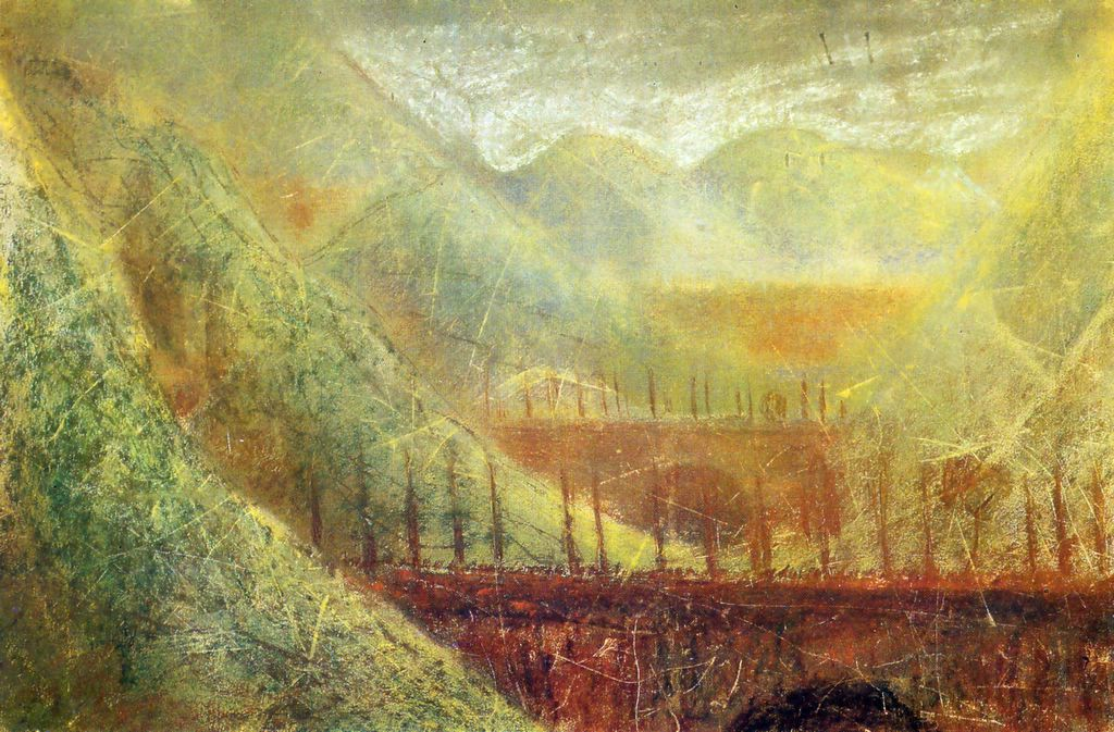 a painting with three bridges in a landscape