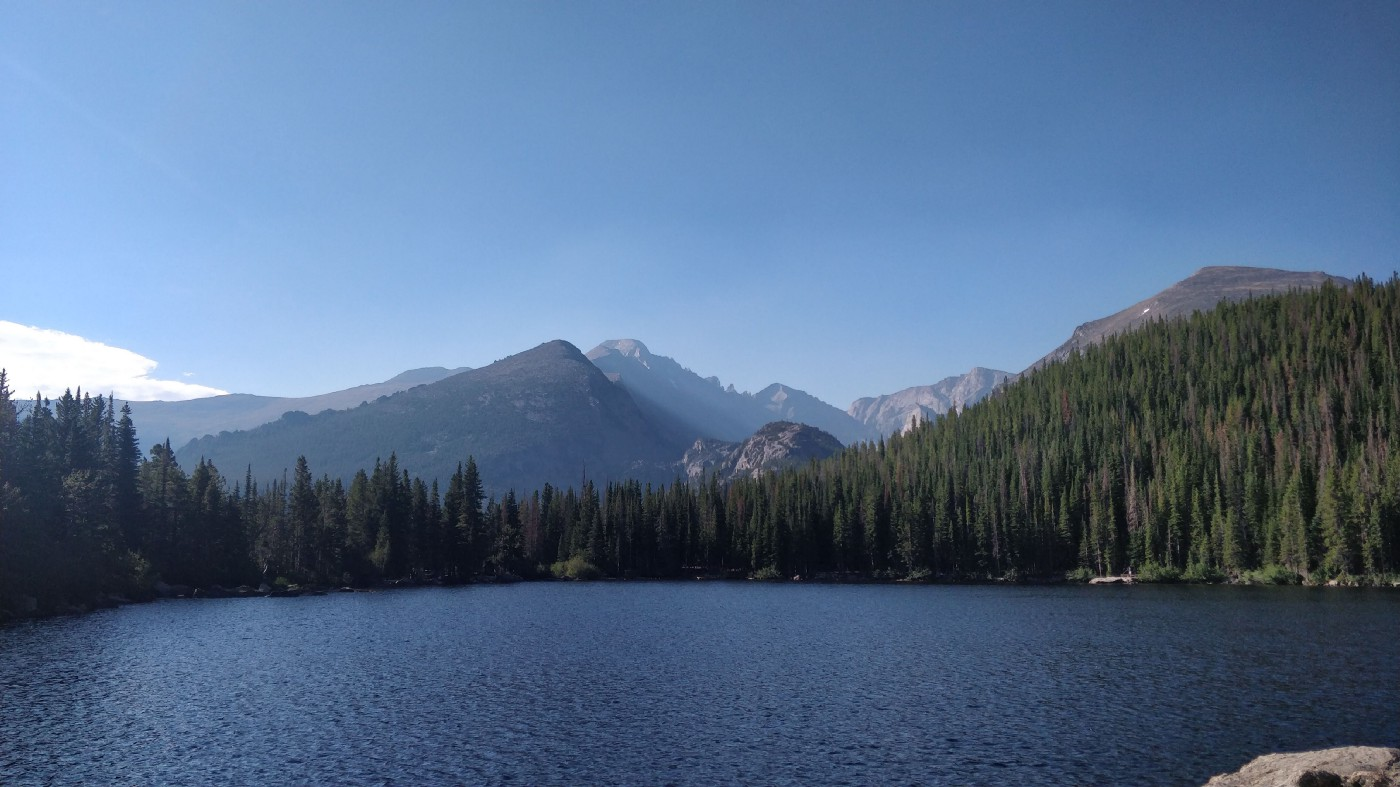 View of the Rocky Mountains overlooking a lake