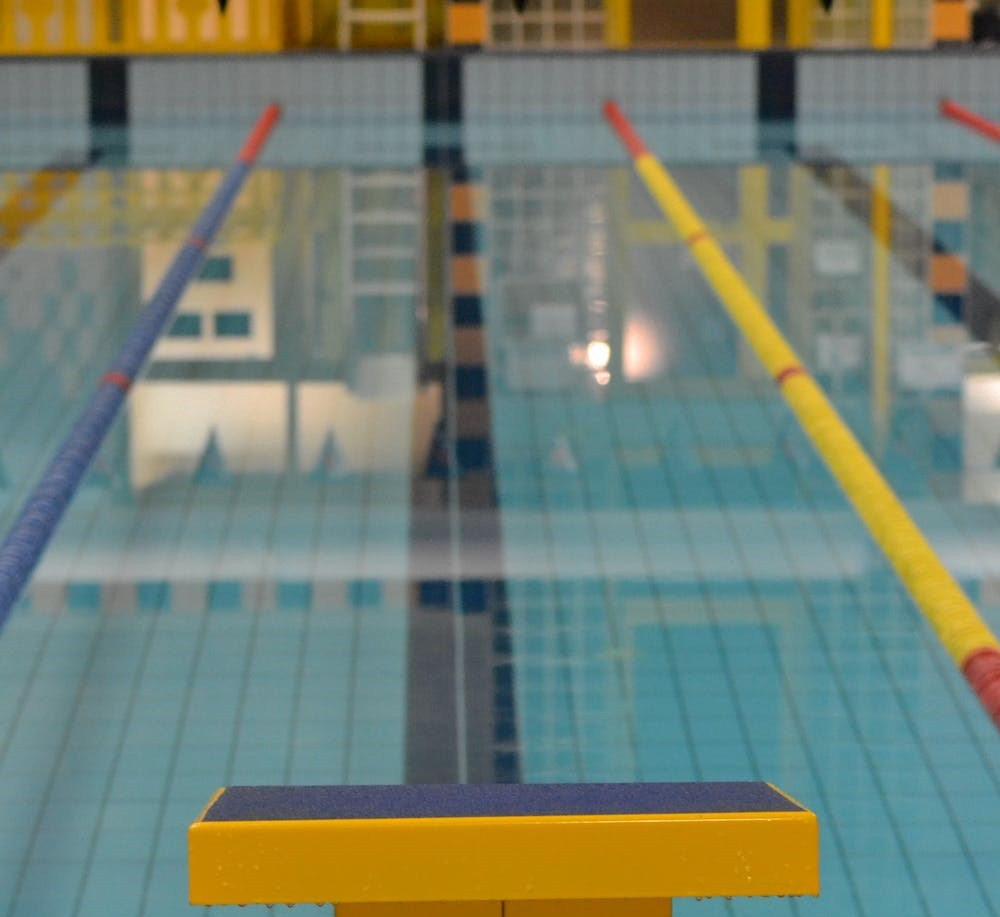Looking down a swim lane from behind the starting block.