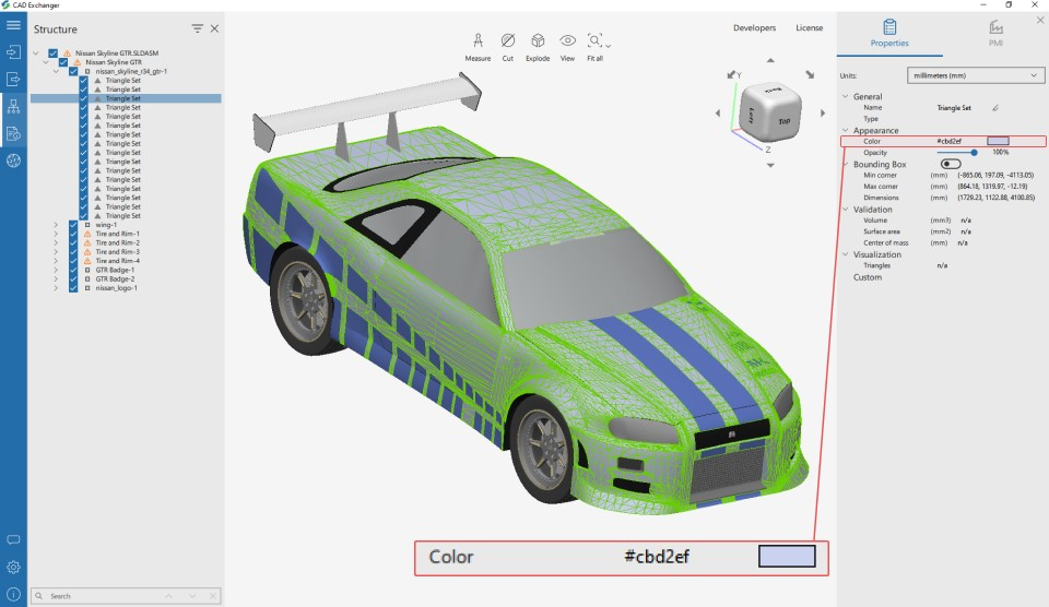 SOLIDWORKS mesh colors import in CAD Exchanger