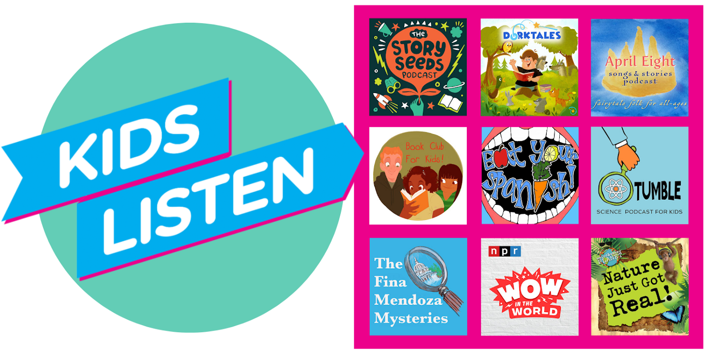 left side- Kids Listen org logo. Right side- tile format graphics for Kids Listen member shows listed throughout article below.