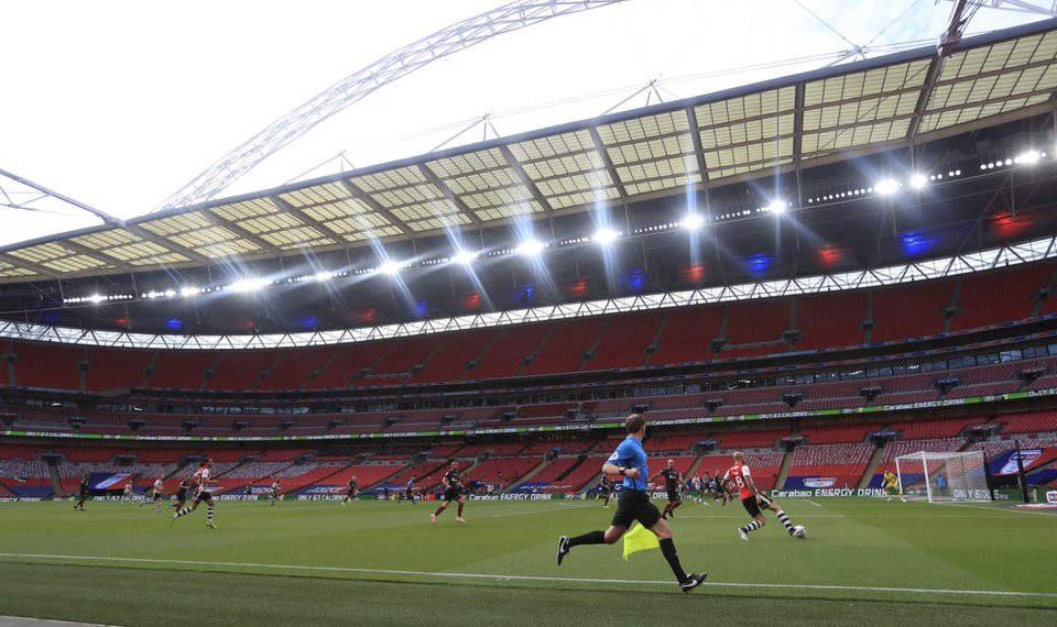 Exeter City vs Northampton Town in the 2020 League two playoff final, held behind closed doors at an empty Wembley stadium