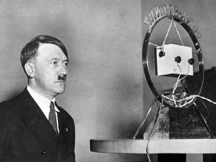 Adolf Hitler in front of radio microphone in a radio speech the day after he became the Reichskanzler (1 February 1933)