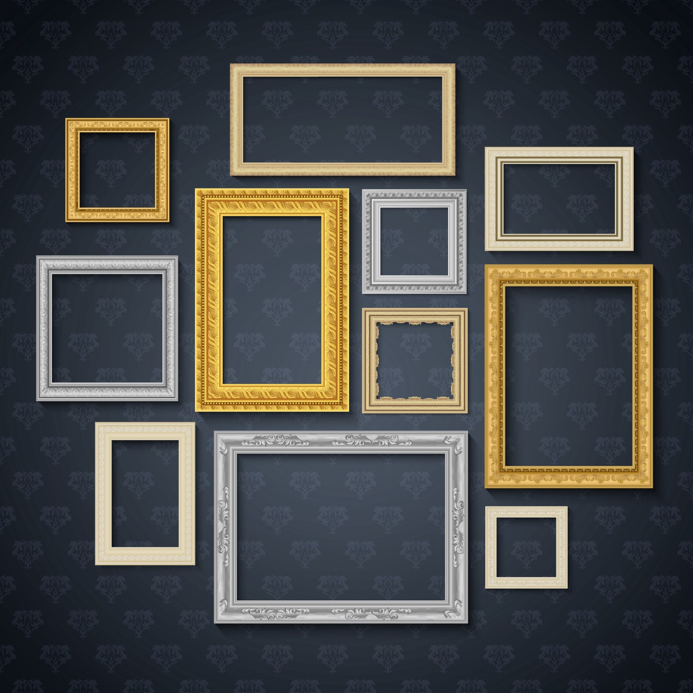 Display of frames of different sizes, orientations, and colors on a wall with a dark grey wallpaper
